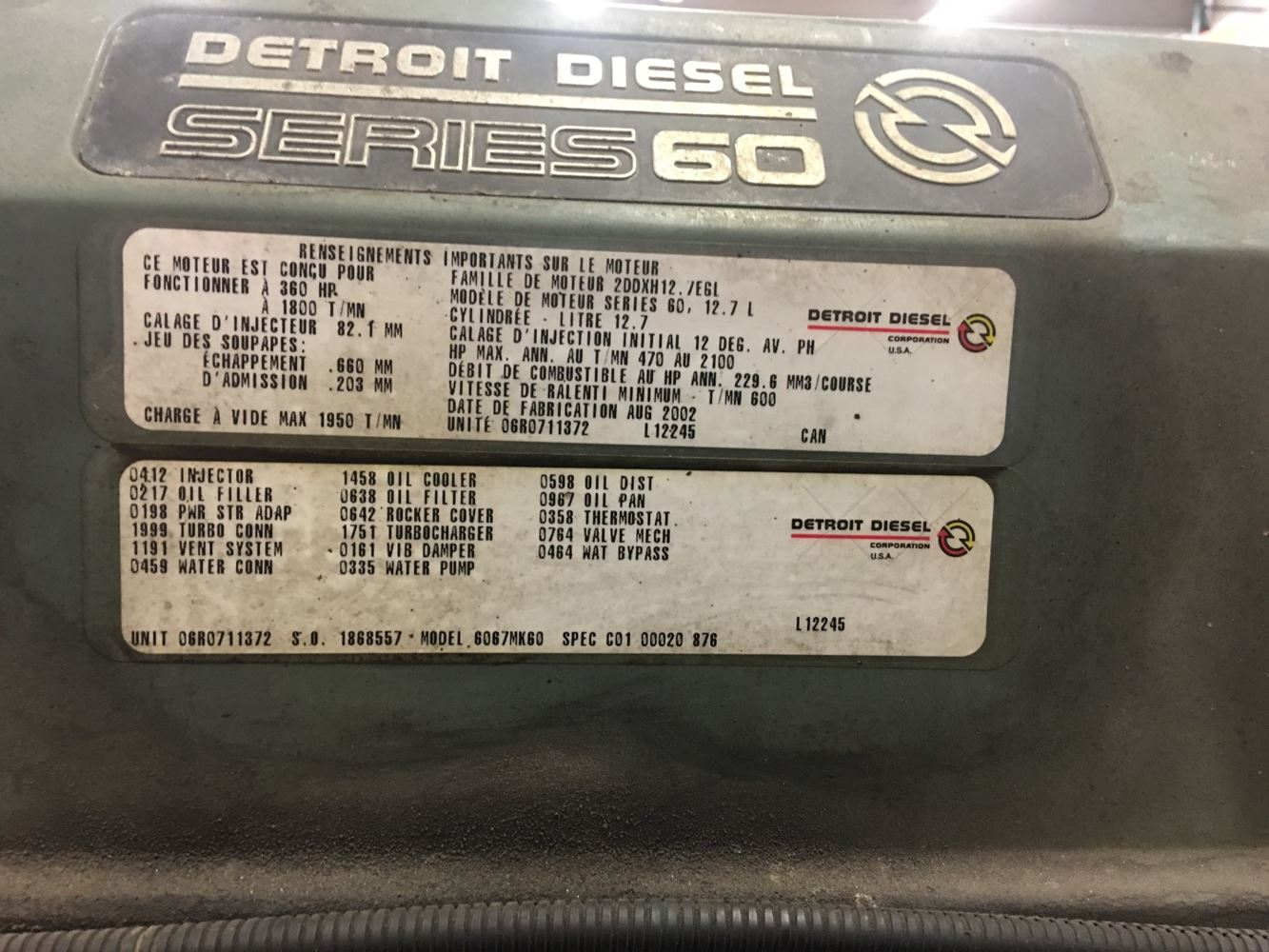 2002 Detroit Series 60 12 7L DDEC IV (Stock #227765)