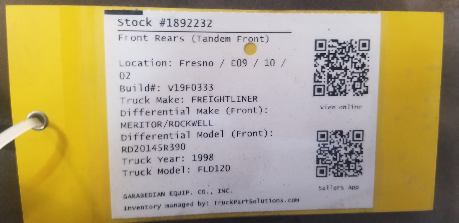 Media 4 for MERITOR/ROCKWELL RD20145 Front Rears (Tandem Front)