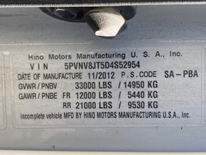 Hino 338 - Salvage F72690