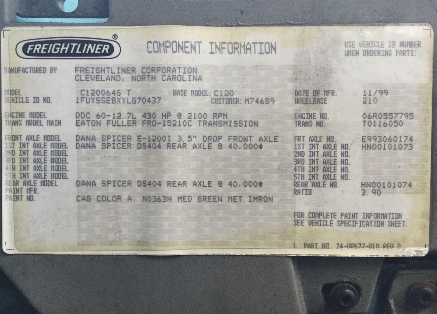 2000 Freightliner CENTURY CLASS 120   TPI
